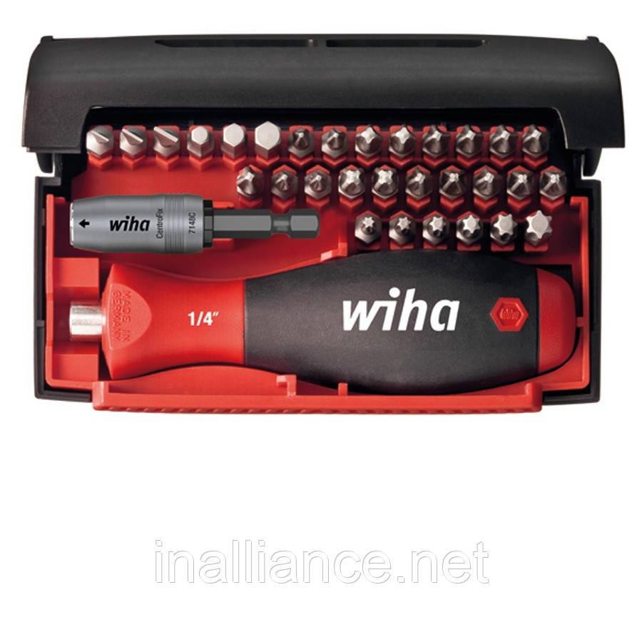 Биты набор 32 штуки c многокомпонентной магнитной ручкой и магнитным держателем бит Wiha 34686