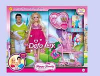 Кукла Defa Lucy беременная с ребенком 8088 розовое платье