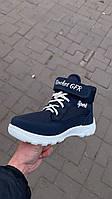 Ботинки детские синие на шнуровке Гофра