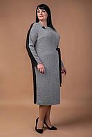 Трендовое повседневное трикотажное платье с брошью Мэй батал, фото 1