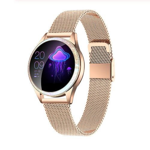 KingWear KW20 женские смарт часы с тонометром - Золотой с металлическим ремешком