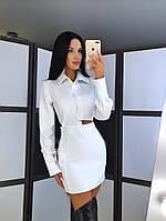 """Женское стильное белое  платье на пуговицах """" Ингрид """""""