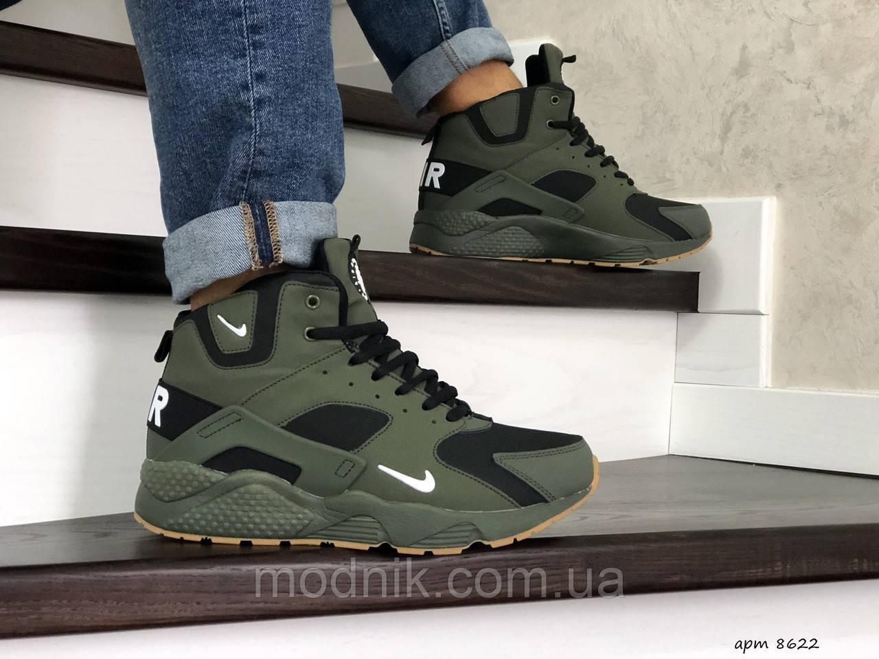 Мужские зимние кроссовки Nike Air Huarache (темно-зеленые)