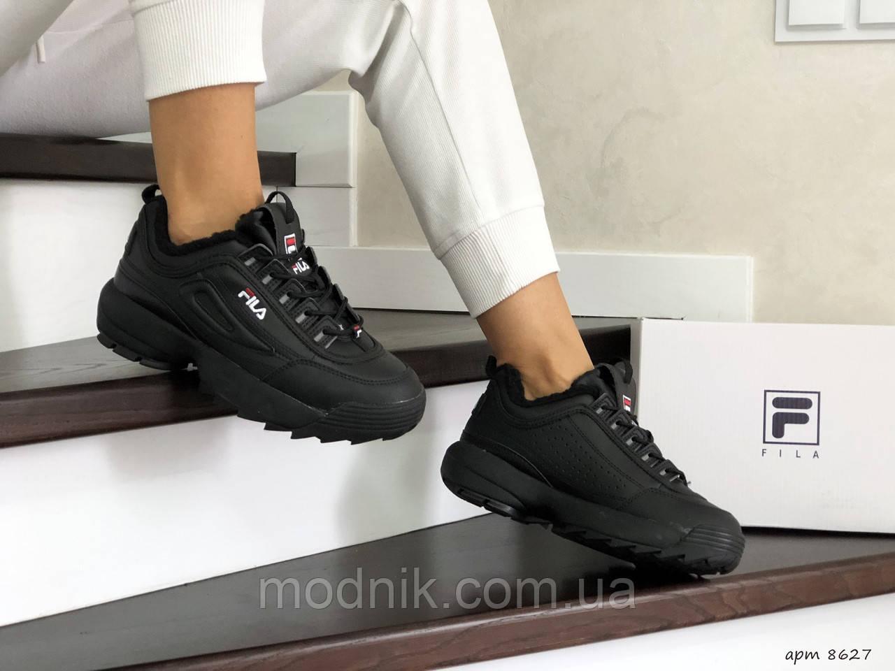 Женские зимние кроссовки Fila (черные)
