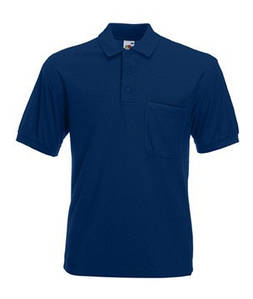 Мужская Рубашка Поло с карманом 65/35 S, 32 Темно-Синий