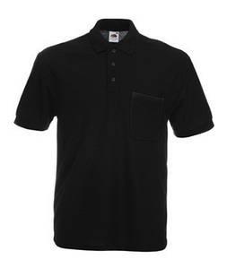 Мужская Рубашка Поло с карманом 65/35 S, 36 Черный