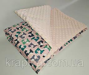 Одеяло плед детское стеганное минки плюшMINKY, хлопок, микрофибра
