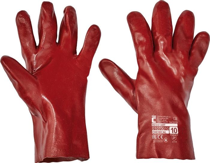 Перчатки защитные Červa химически стойкие Хлопок полное ПВХ покрытие красные 27 см