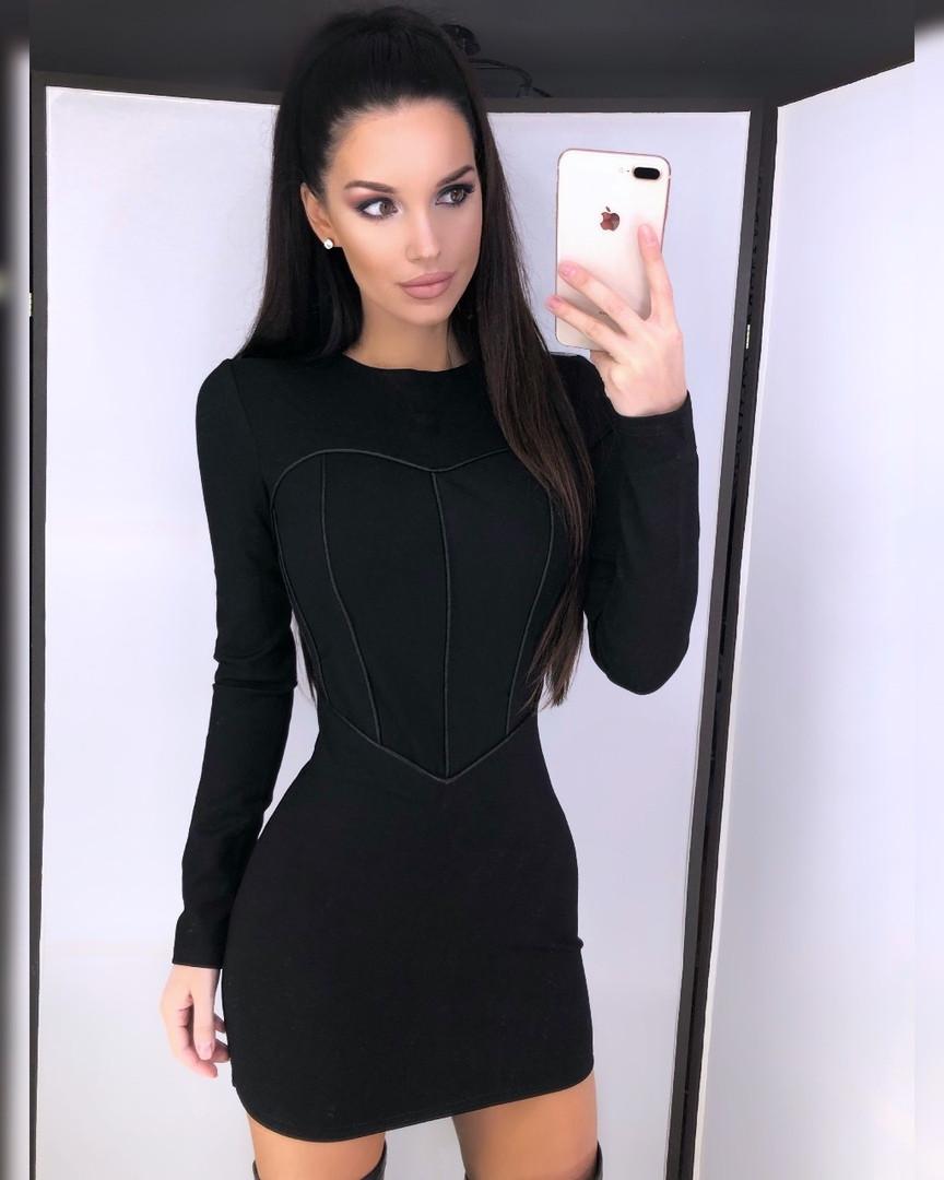 """Женское стильное черное платье """" Сердце """" эффект утяжки"""