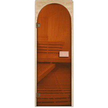 Двери для сауны Арочные, бронза 70х190