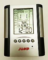 Подставка для пишущих принадлежностей Jump на 1 отделение с часами и календарём (серебро)