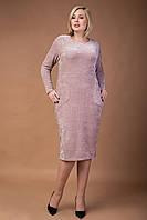 Стильное приталенное платье ниже колена плюс сайз Лолита, фото 1