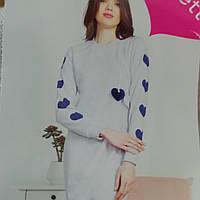 Серая ночная сорочка с длинным рукавом, на байке, теплая туника для дома и сна, размер M(44-46), хл(48-50)