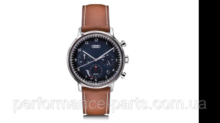 Мужские наручные часы хронограф Audi Chronograph Solar-powered, Mens, blue/brown, 3101900100