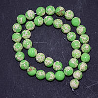 Бусины Варисцит (иск) зеленые салатовые гладкий шарик нитка d-10мм L-38см (+-)