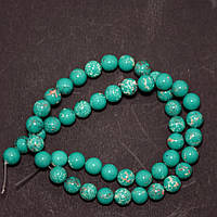 Бусины Варисцит (иск) зеленые гладкий шарик нитка d-8мм L-38см (+-)