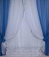 Комплект кухонные шторки с подвязками №17. Цвет синий с белым У