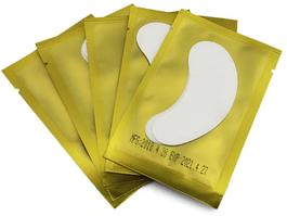 Патчі під очі на гідрогелы для ламінування і нарощування вій, у золотій упаковці
