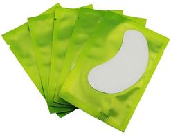 Патчі під очі на гідрогелы для ламінування і нарощування вій, у зеленій упаковці