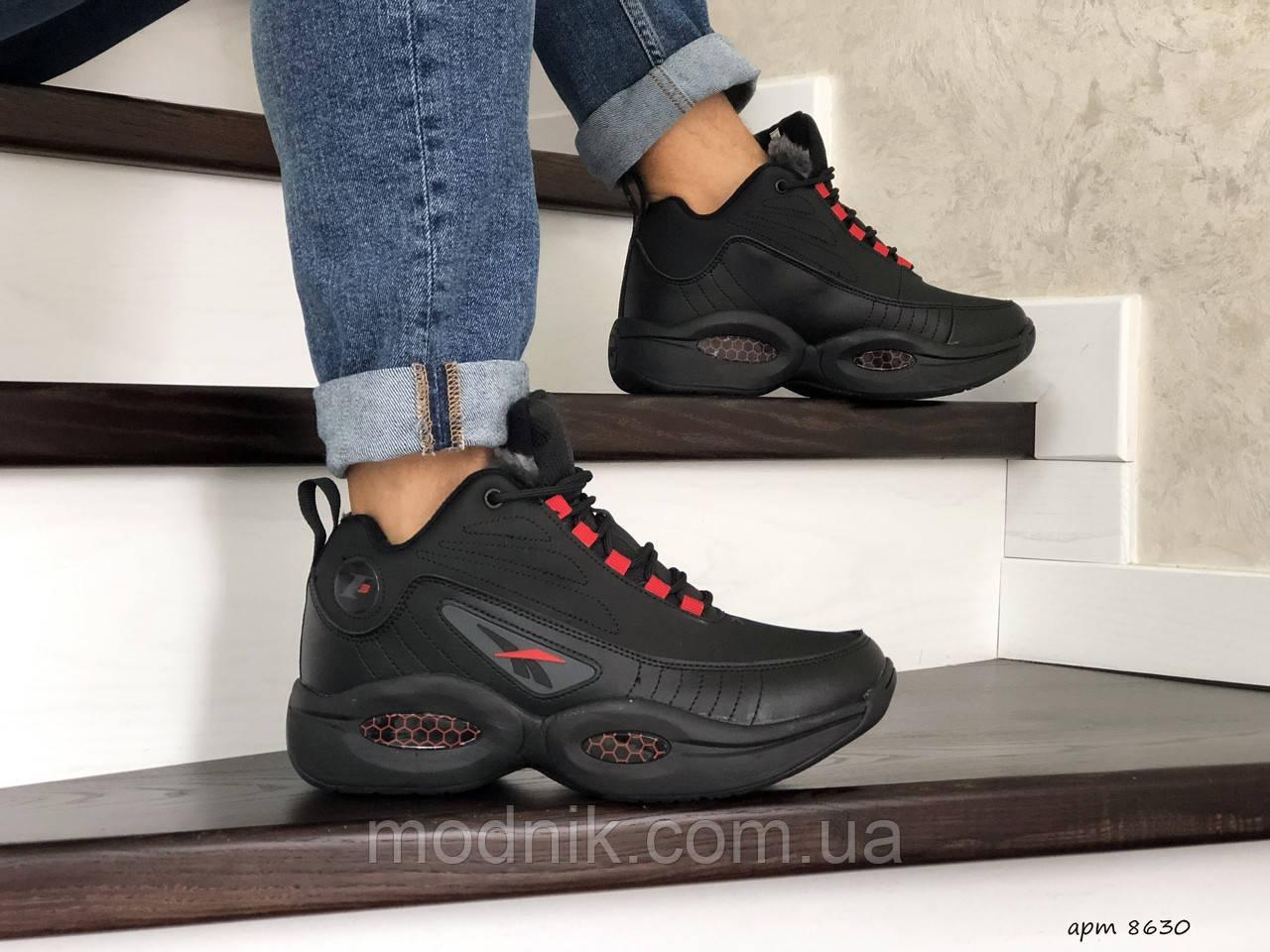 Мужские зимние кроссовки Reebok I3 (черно-красные)