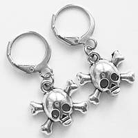 """Серьги кольца с подвесками """"Череп"""" под серебро для пирсинга ушей., фото 1"""