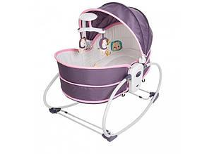 Дитяча люлька-качалка 5в1 Mastela 6033 Сіро-рожева, музика, вібро, дуга з підвісками