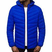 Мужская  куртка на осень/зиму качественная теплая до -3*,  с капюшоном, голубая
