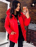 Красная дутая куртка с капюшоном и карманами, фото 1