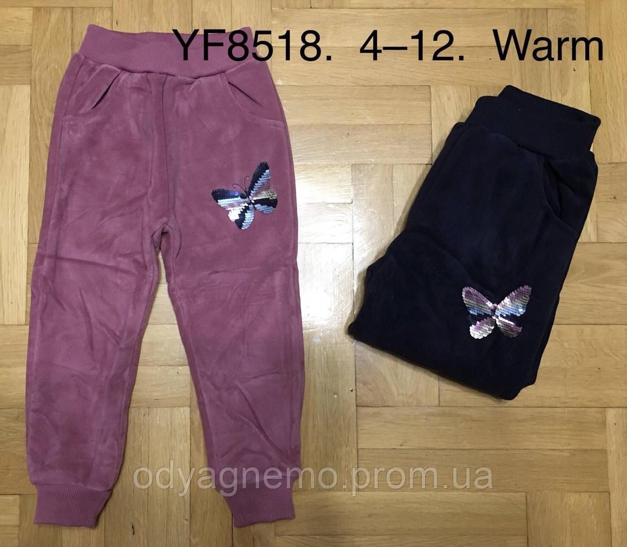 Спортивные велюровые брюки утепленные для девочек F&D оптом, 4-12 лет. Артикул: YF8518