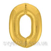 Фольгированный шар-цифра 0 Slim золото 102см Agura