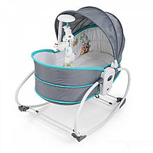 Дитяча колиска-гойдалка з вібрацією та музикою для дітей 5 в 1 Mastela 6037 дуга з підвісками Сіро-блакитний