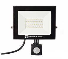 LED Прожектор Евросвет с датчиком движения 30W 6400K IP65 2100Lm EV-30-504D
