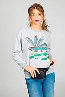 Женский свитшот с рисунком фиалковой стрекозы, Диво, серый, S