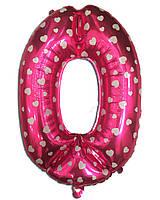 Фольгированная цифра 0 розовая с сердечками, 35 см