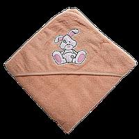Полотенце детское для купанья с капюшоном махра 90*90  380г/м2 (TM Zeron), персиковое Турция, фото 1