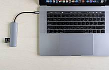 USB-хаб кабель Qitech Aluminum Type-C + Type-A + HDMI 4K + MicroSD + SD Space Gray (QT-Hub2c), фото 3