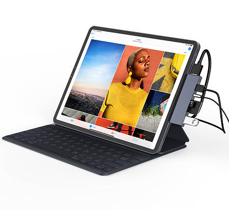 USB-хаб для iPad Qitech Aluminum Type-C + Type-A + HDMI 4K + MicroSD + SD Space Gray (QT-Hub3), фото 2