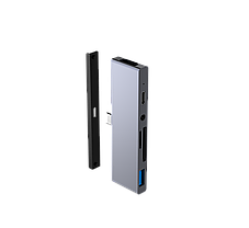 USB-хаб для iPad Qitech Aluminum Type-C + Type-A + HDMI 4K + MicroSD + SD Space Gray (QT-Hub3), фото 3