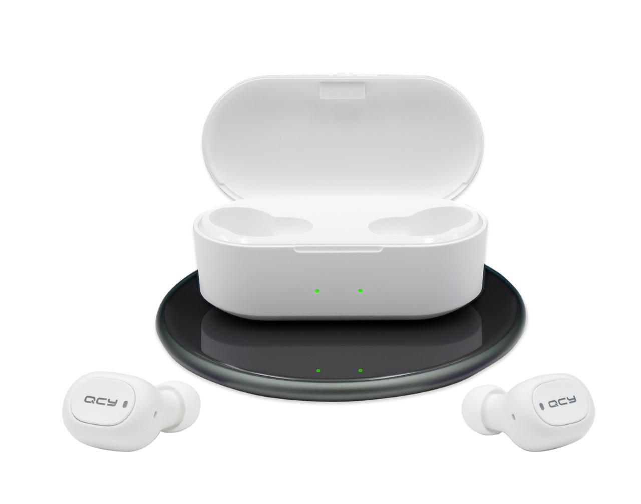 Беспроводные Bluetooth наушники вкладыши QCY T2S с функцией беспроводной зарядки, белые (T2S)