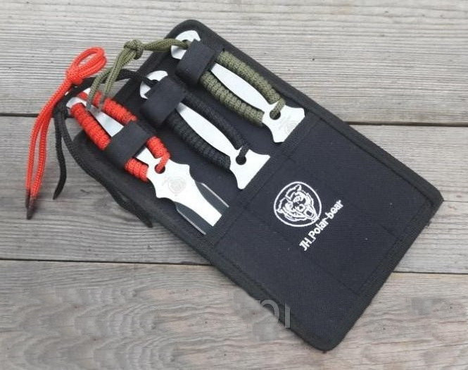 Набор 3 шт ножей для метания мультиколор со шнуровкой + чехол, для охотника/ рыбака / туриста