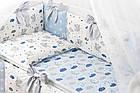 Комплект постельного белья Asik Спящие слоники на облаках голубого цвета 7 предметов (7-326), фото 4
