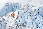 Комплект постельного белья Asik Спящие слоники на облаках голубого цвета 7 предметов (7-326), фото 5