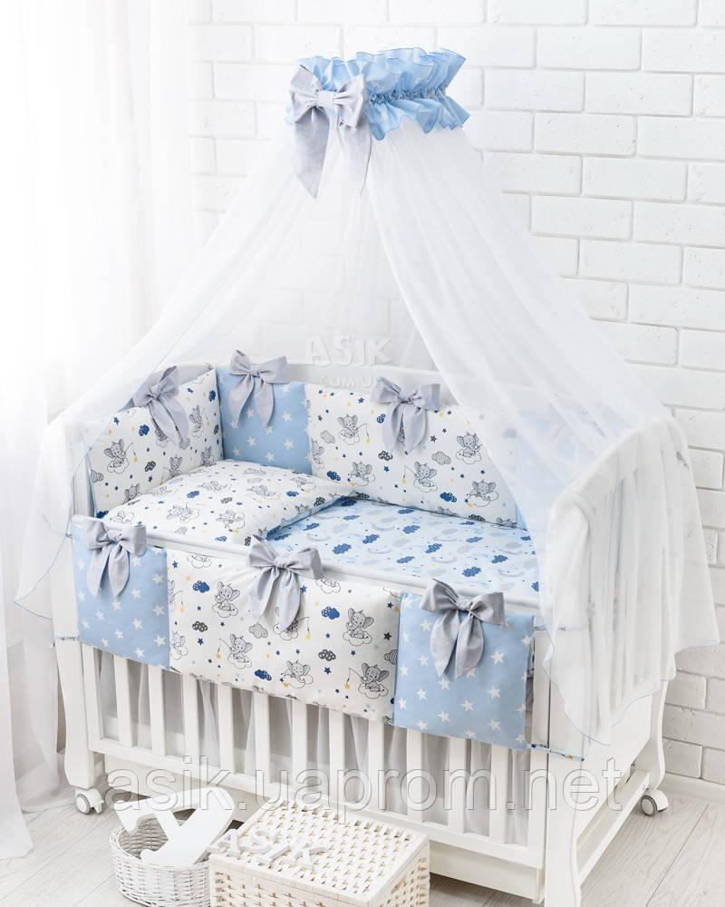 Комплект постельного белья Asik Спящие слоники на облаках голубого цвета 7 предметов (7-326)