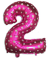 Фольгированная цифра 2 розовая с сердечками, 35 см