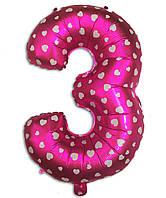 Фольгированная цифра 3 розовая с сердечками, 35 см