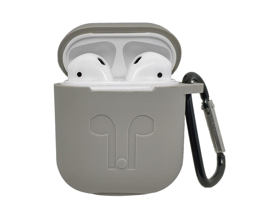 Силиконовый чехол для AirPods с карабином, Серый