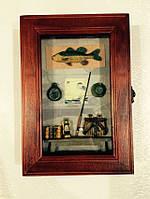 "Ключница  настенная, деревянная -"" Рыбалка """