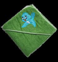 Полотенце детское для купанья с капюшоном махра 90*90  380г/м2 (TM Zeron), зеленое Турция