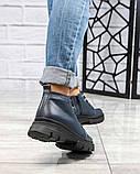 Демисезонные ботинки женские на шнуровке синие, фото 2