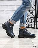 Демисезонные ботинки женские на шнуровке синие, фото 3